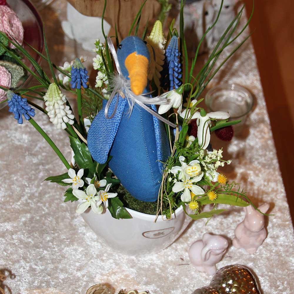 Kleine Kunststube - Kunstgewerbe - Frühling mit blauer Ente